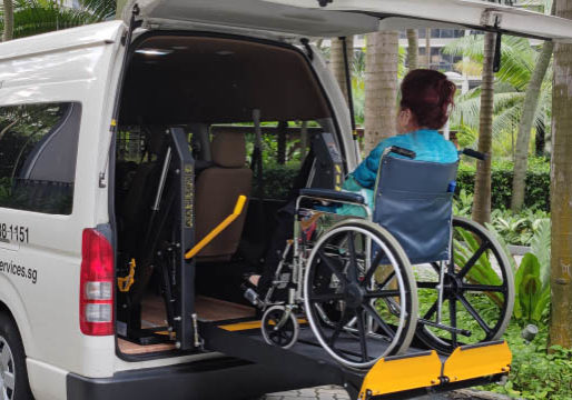 wheelchair transport wheelchair user lifted on hydraulic lift